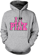 I Love Pink Heart Ribbon <3 Breast Cancer Cure Awareness Cause Hoodie Sweatshirt