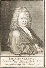 C1750 Leclerc Clericus Jean théologien suisse cuivre Pli-Portrait