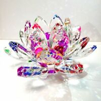 "2"" Crystal Sparkle Crystal Lotus Flower Feng Shui Home Decor Rainbow Color"