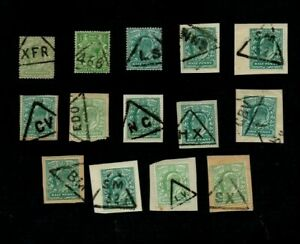 ED VII-GEORGE V. 14 x STAMPS ALL DIFFT TRIANGULAR 'PRINTED MATTER/LATE' CANCELS