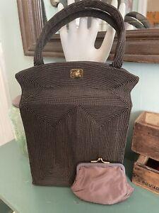 Antique Vintage Purse Handbag Brown Soutache Corded w/ Change Wallet Satchel Bag