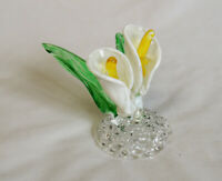 Vintage Hand Spun Blown Glass Calla Lily Flower.. Clear & Colored Figurine