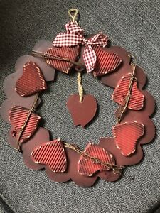 Red Heart Indoor Sign Wreath Wood Valentine Farmhouse Love Rustic 13 Inch