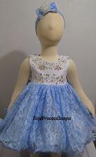 NEW White Blue Lace Glitz National Pageant Babydoll Dress Sz 9M 12M RPD
