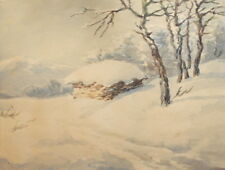 ANTIQUE WATERCOLOR PAINTING IMPRESSIONIST WINTER LANDSCAPE HUT
