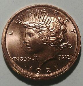 New 1921 Peace Dollar 1oz .999 Fine Copper Round Brilliant Luster Made In USA