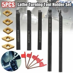 5pcs 8mm Shank Lathe Turning Tool Holder,  CCMT060204 DCMT070204 Carbide insert.