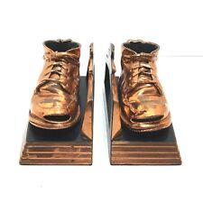 Bronzed Baby Shoe Bookends Vintage 50s 60s Retro Mid Century Felt Bottoms Heavy
