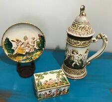 Antique Italian Cherib - Capodimonte Lot-Decor Plate, Covered Dish & Beer Stein