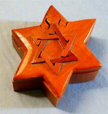 STAR OF DAVID ~ HAND MADE ~ WOODEN PUZZLE BOX w/ HIDDEN VELVET LINED COMPARTMENT
