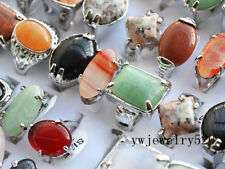 Wholesale lots of jewelry 30pcs Big assorted Natural Gemstone Silver P Rings