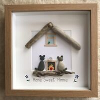 Pebble Art Framed Home Sweet Home cats bird Birthday New Home Mothers Day Gift