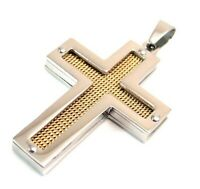 Yellow Gold PVD Cross Pendant Hypoallergenic Stainless Surgical Steel