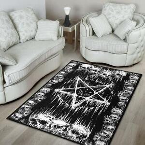 Satanic Skull Melting Inverted Pentagram Area Rug