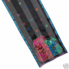 Laurel Burch 100% Silk Oblong Scarf Papillion Dogs Black Purple Teal Fushia New