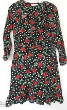 Mango Deep V neck with frill long sleeve floral dress size S Pre-owned