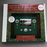 2004 CANADA GOLF PICTURE FRAME $5 SILVER 10¢ COINS 49¢ STAMPS MEDALLION TEE MIB