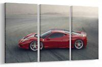 FERRARI 458 RACING CAR MULTI PANEL CANVAS WALL ART PICTURE PRINT AU6