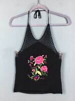 Topshop Black Retro Floral Embroidered Crochet 90s Cropped Halter Top 8 10 - B1