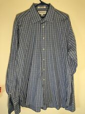 Mens Burberry Of London Button Front Shirt Large 16.5 35 Long Sleeve Plaid