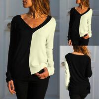 Donna Larga Scollo a V Manica Lunga Contrasto Casual Maglia T-Shirt Maglione