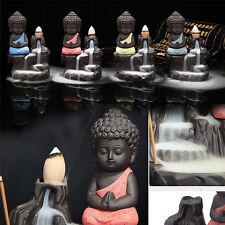 Ceramic Little Monk Smoke Backflow Cone Censer Holder Incense Burner Decoration