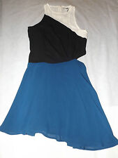 BNWT UK 8 EUR 36 GLAMOROUS BLUE BLACK WHITE COLOUR BLOCK SIDE CUT OUT DRESS