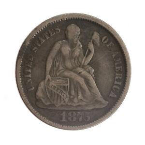 1875-CC Seated Liberty Dime XF JO/249