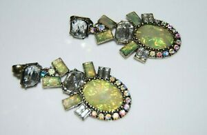 BAUBLEBAR ELEGANT COUTURE GREEN & CLEAR STONES BRONZED METAL DANGLE CLIP EARRING