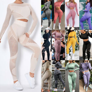 Women Seamless Gym Workout Sport Suit Long Sleeve Crop Top And Leggings Yoga Set