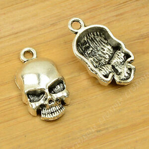 15pc Retro Charms Skull Heads Mask Pendant Beads Crafts Accessories G654T
