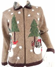 Christmas Sweater Womens Brown Country Snowmen Trees Victoria Jones Petite PM