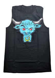 The Rock Blue Brahma Bull Sleeveless Black Muscle T-shirt