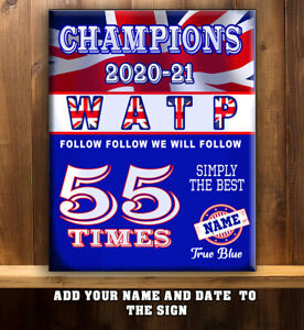 PERSONALISED RANGERS GLASGOW CHAMPIONS 55 TIMES 2021 GIFT Metal WALL Sign GR001