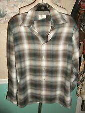 Men'S Vintage 50'S 60'S Arrow 100% Rayon Chevella Shirt Green Brown Plaid M