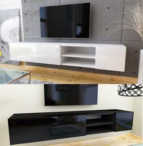 Meuble TV LOWBOARD Haute Brillance modern bas armoire Blanc weiß COULEURS 180 cm
