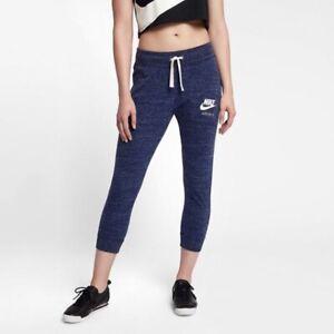 Nike Vintage Blue Leggings Capri Pocket Drawstring Pants White Logo XS X-Small