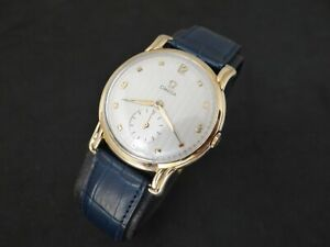 VINTAGE OMEGA GUILLOCHE DIAL 14K SOLID GOLD FANCY LUGS MANUAL WIND 1940's