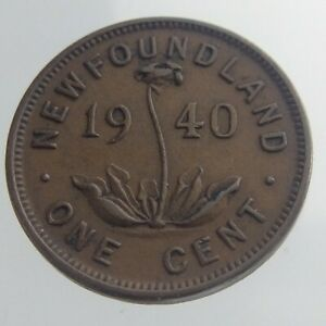 1940 Newfoundland One Cent Penny KM 18 Circulated Coin Pitcher Plant V295