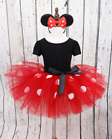 Girl's Baby Toddler Minnie Mouse Cosplay Costume Fancy Tutu Dress +Ear Headband