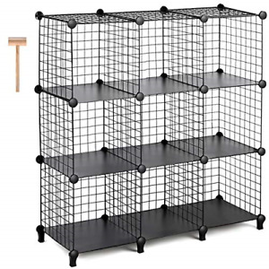 TomCare Cube Storage 9-Cube Metal Wire Cube Storage Storage Cubes Shelves Cube