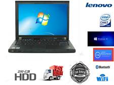 Fast Laptop Lenovo ThinkPad Core2Duo@2.40GHz 4GB RAM 250GB HDD Win 10 Wi-Fi