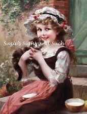 Victorian Girl Feeding Kitty Fabric Block