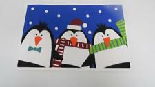 Christmas Holiday Vinyl Placemat Blue Three Penguins Snowflakes Scarves CUTE NEW
