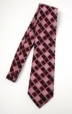 Michael Kors Necktie Burgundy Pink Gray Plaid Squares 100% Silk Made in USA