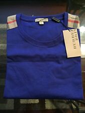 New Burberry Shoulder Nova Check Haymarket Plaid Men Blue Logo XXL / XL  $225