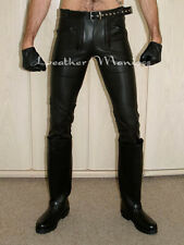 leather jeans trousers pants German Builders style with blue strips