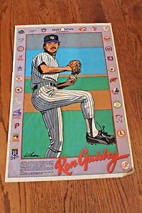 Spectacular vintage 1980's Ron Guidry Cartoon Poster New York Daily News Yankees