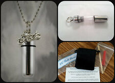 "COMPLETE SET -  Motorcycle CREMATION URN 24"" Necklace  w/Pouch & Fill Kit"