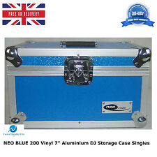 "NEO BLUE Aluminium DJ étui rangement hold 200 vinyle 7"" singles records + partition"